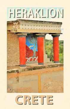 Palace of Knossos; the most spectacular of all Minoan palatial centres, just 5 km southeast of Heraklion. A worth visiting monument of Minoan Civilization. Heraklion, Knossos Palace, Minoan, Poster S, Vintage Travel Posters, Crete, Greek Islands, Beautiful Places, Turkey