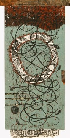 "Restless Peace, by Anne Moore, monotype with collage, 16""x8"""