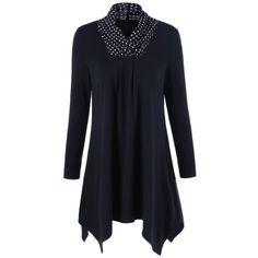 Polka Dot Patchwokr Asymmetrical Tee, WHITE/BLACK, XL in Long Sleeves | DressLily.com