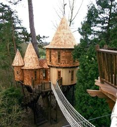 Fulfill your childhood fantasy of owning the best ever tree house! This fairytale one is for adults (and kids) from www.highlifetreehouses.co.uk
