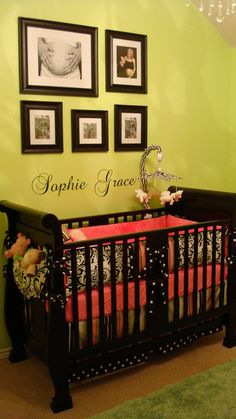Love the maternity black and whites, name at the bottom, black crib and black and white outer bumper with the watermelon color inside.  what a tasteful creation for a little girls room