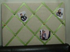 How to make a picture board with ribbon and fabric.