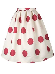 a9cae8da0442b8 Choies Women Polyester White/Red Polka Dot Mid Waist Sliky Skater Skirt at Amazon  Women's