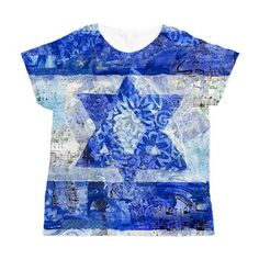Israeli Flag Women's All Over Print T-Shirt   Not your typical Israeli flag! THis decorative mixed media art is layered with awesomeness to make your home decor or Judaica modern
