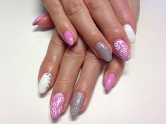 White&pink&silver nails with roses