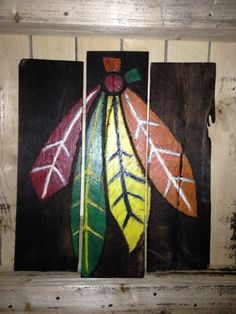 Blackhawks FourFeathers Pallet Painting by MallettsPalletts Blackhawks Hockey, Chicago Blackhawks, Hockey Bedroom, Hockey Boards, Hockey Gifts, Sport Craft, Ecole Art, Pallet Painting, Decoration