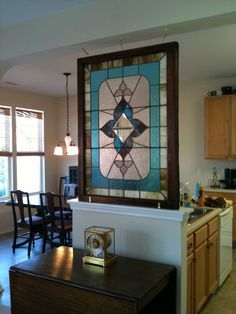 How to hang an antique stain glass window. LOVE the placement Antique Stained Glass Windows, Hanging Stained Glass, Stained Glass Door, Stained Glass Designs, Stained Glass Panels, Stained Glass Projects, Stained Glass Patterns, Leaded Glass, Sliding Glass Door