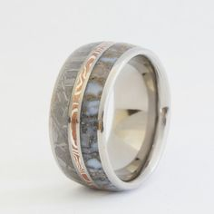 Dinosaur Bone Ring with Gibeon Meteorite and Silver & Copper Mokume Gane - Rare and Unique - Signature Series