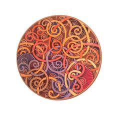 Burgundy decorative plate Bohemian style decor by Essenziale