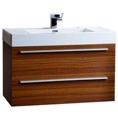 "35.5"" Wall-Mount Contemporary Bathroom Vanity Teak TN-M900-TK $595 including sink"