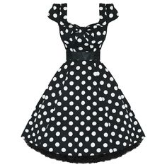 LADIES-WOMENS-NEW-BLACK-WHITE-POLKA-DOT-50S-ROCKABILLY-SWING-PARTY-PROM-DRESS