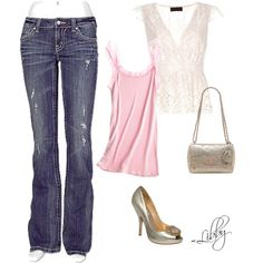 I like the jeans and the pink tank... cute!