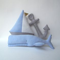 Nautical nursery toys Whale Sailboat & Anchor by #CherryGardenDolls #whale #anchor #sailboat