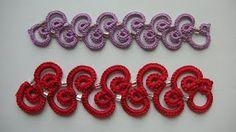 Learn how to crochet a lacy trim of double scallops, with my own version of Irish lace crochet. Unlike many crochet trims, this one you work the short way, m. Bracelet Tatting, Tatting Armband, Bracelet Crochet, Crochet Cord, Tatting Jewelry, Crochet Motifs, Freeform Crochet, Thread Crochet, Irish Crochet