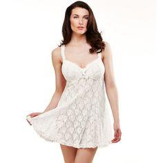 Lunaire Lace Babydoll & Panty Lingerie Set, Women's, Size: Large, White Oth