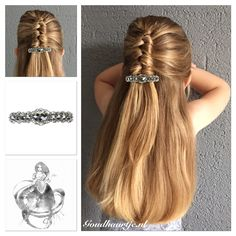 Dutch infinity braid with vintage hairclip from Goudhaartje.nl This hairstyle is inspired by the amazing Sorry that I did another half up hairstyle, I just love them! French Braid Hairstyles, All Hairstyles, Little Girl Hairstyles, Straight Hairstyles, Girl Hair Dos, Birthday Hair, Hair Creations, Toddler Hair, Infinity Braid