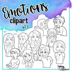 Emotions clipart set 1 by Talking with Rebecca is a set of 10 line drawings. Five boys and five girls convey ten different emotions with their face and body. Images are from the waist up. Color versions are not included in this download.Images are png with a transparent background, saved at 300 dpi.Included emotions are:(Happy) SurprisedConfusedCuriousDisgustedEmbarrassedExcitedProudScaredShyUse of these graphics require a link to Talking with Rebecca.