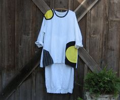 linen tunic in white with black, yellow and grey trim Ready to ship