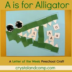 A is for alligator preschool craft - crystalandcomp This website has a craft plus activities for each letter of the alphabet. Zoo Phonics, Preschool Literacy, Preschool Letters, Learning Letters, Preschool Activities, Kids Learning, Kindergarten Fun, Preschool Rules, Abc Crafts