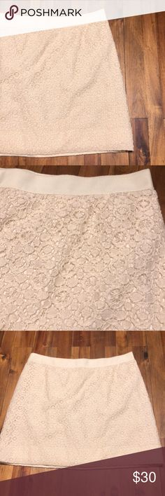 J. Crew Factory Lacey Skirt Beautiful skirt, fully lined. Very gently worn. Only flaw is a small pull where the skirt got caught in the zipper at one point, but it's totally not noticeable (although, I did include a pic). Let me know if you have any questions! J. Crew Factory Skirts Mini
