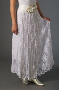 Long lace broomstick skirt with flowing tiers and a comfortable elasticized waist. The length is between to comes with its own white lining. Made in USA Lace Top Dress, White Lace Skirt, White Skirts, Western Outfits Women, Western Wear For Women, Western Wedding Dresses, Wedding Wear, Hindus, Broomstick Skirt