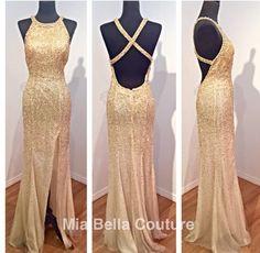 Prom, promlooks, prom dresses, dresses, diamonds, black, gold, sparkle, glitter, beautiful, style, long dress, tight, Mia Bella contour
