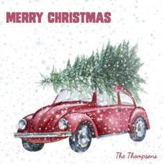 A watercolour painting of an old red beetle, a perfect old fashioned Christmas card. Christmas Photo Cards, Christmas Photos, Family Christmas, Christening Invitations, Birthday Party Invitations, Birthday Parties, Red Beetle, Old Fashioned Christmas, Personalized Stationery