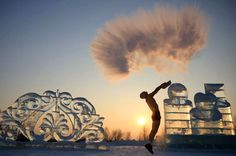 Harbin, China:    Water thrown up in the air turns into ice on Jan. 22.