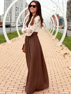 dear-valeria Outfit  casual urbano  Primavera 2013. Combinar Jersey Blanco Zara Trafaluc, Vestido Marróno Zara, Cómo vestirse y combinar según dear-valeria el 3-4-2013