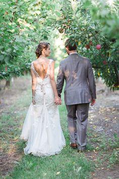 summerland apple orchard wedding featuring a Stella York wedding gown