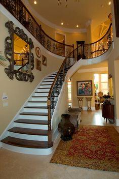 foyer stair case of the Casa De Caserta House Plan, 2 Story Foyer
