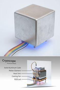 Cryoscope by Robb Godshaw an industrial design student at R.I.T..  Haptic weather display device.  Touch the cube which self adjusts to match the temperature outside.