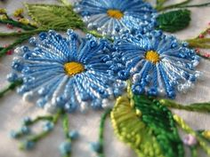 Pistol stitch flowers - love the color!