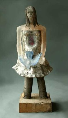 Christina Bothwell , Communion  -   cast glass, cast aluminum, raku fired clay, wood, and oil paints  37 x 15.5 x 12 inches