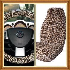 Leopard Print Seat Covers With A Steering Wheel Cover