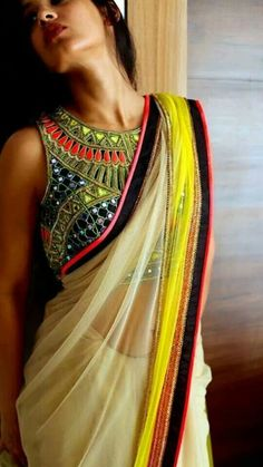 Saree... Indian attire.... great blouse design. Definitely going to get myself one.