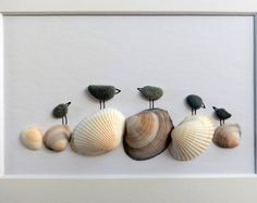 Unframed 5 by 7 bird pebble art anniversary gift birthday present cottage decor housewarming gift baby shower by Jenny Love Sea Glass Crafts, Sea Crafts, Sea Glass Art, Seashell Art, Seashell Crafts, Stone Crafts, Rock Crafts, Pebble Pictures, Rock And Pebbles