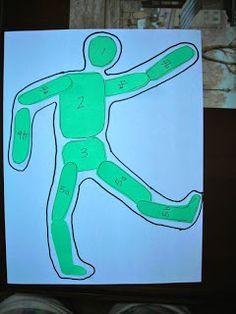 """In the Spirit"" to illustrate how artists use movement in the human body. We often brainstorm some activities that people do that involve body movement. Sometimes kids pose for each other to get the joints and angles the way they want them.  Then I have them loosely make a contour drawing around the pieces.  I have to caution them NOT to trace or we end up with strange block figures!!"