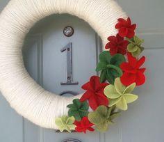 Yarn Wreath Felt Handmade Holiday Door  Dripping In by ItzFitz, $45.00