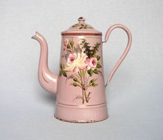 EARLY VINTAGE FRENCH ENAMELWARE COFFEE POT with floral decors #OriginalVintage