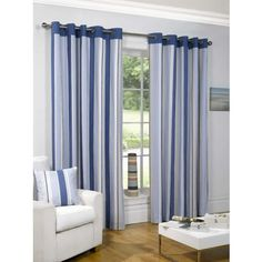 Sundour Padstow Blue Lined Curtains - 66 x 72in