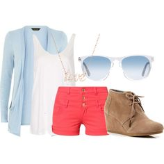 Coral and Blue by a-nerdy-girl on Polyvore featuring polyvore fashion style Topshop even&odd TOMS Swarovski Oliver Peoples