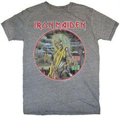 Iron Maiden Men's Vintage T-shirt - Killers Album Cover Artwork   Gray Shirt
