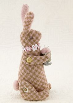 bunny pin cushion you can make it with recyled wool
