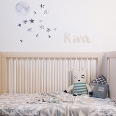 Moon and Stars Fabric Wall Decals make a beautiful dreamy statement for a little boys nursery