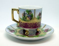 Antique Hand Painted Cup Saucer 2pc