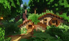 Small houses in the Forest : Minecraft Small houses in t. Small houses in Minecraft Small House, Casa Medieval Minecraft, Minecraft Cottage, Cute Minecraft Houses, Minecraft Houses Survival, Minecraft Castle, Minecraft Houses Blueprints, Minecraft Plans, Minecraft House Designs