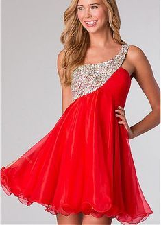 Amazing Organza A-line One Shoulder Neckline Short Homecoming Dress With Beads & Rhinestones