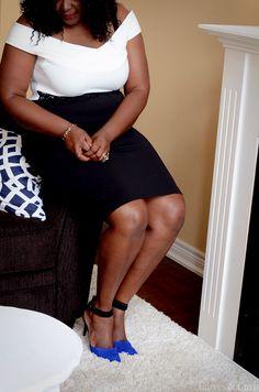 Plus size off shoulder black and white dress #Assacisse #mycurvesandcurls