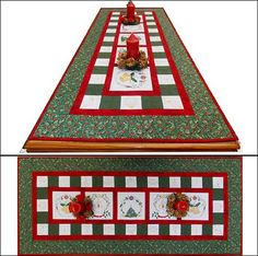 """Festive Christmas Table Runner"" includes full color and single color designs, that can be stitched on anything, including the table runner, which finishes at 50 by 21.5 inches. Instructions included!"